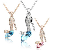 Wholesale dreams necklace for sale - Group buy Cinderella Dream Crystal Shoes Pendant Glass Shoes Pendant Neckalce Austrian Crystal Pendant Necklace High Quality for Womem