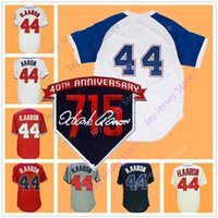 Wholesale hank aaron baseball - Hank Aaron Jersey With 715th Home Run 40th Patch Cooperstown White Cream Red Grey Flexbae Cool Base Mesh BP