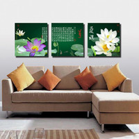Wholesale Oil Canvas House - Free Shipping 3 Pieces unframed art picture Canvas Prints Lotus chinese characters poetry house tree mountain Chrysanthemum rose decorate