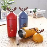 Creativo Cute New Year Cartoon Alce di alta qualità doppia parete in acciaio inox Vacuum Flasks Coffee Tea Milk Travel Mug Thermos Bottle 260ml