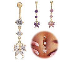 Wholesale Sexy Girl Navel - Gold Plated Crystal Paved Cubic Zirconia CZ Butterfly Piercing Belly Button Ring Sexy Body Jewelry for Women