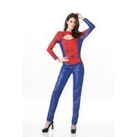 Wholesale Sexy Super Man Cosplay - High Quality New Women Theme Costume Sexy Spider Man Cosplay Halloween Superhero Catsuit Long Sleeve Jumpsuit Superwoman Outfits A415101