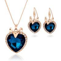 conjunto de brinco coração oceano colar venda por atacado-Coração do colar de pingente de oceano pulseira brincos conjunto de jóias feita com cristal swarovski
