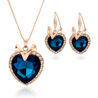 Wholesale Heart Ocean Jewelry Set - Heart of the Ocean Pendant Necklace Bracelet Earrings Jewelry Set Made with SWAROVSKI Crystal