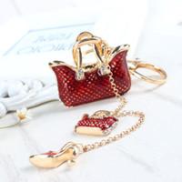 Wholesale Shoe Handbag Wholesalers - Two Red Handbag High Heel Shoe New Fashion Cute Rhinestone Crystal Car Purse Key Chain Jewelry Great Gift