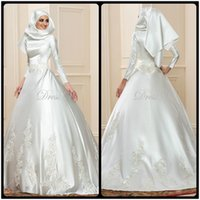 Wholesale Brautkleid Sexy - 2017 New Arrival Long Sleeve Muslim Wedding Dresses Ball Gown Hijab Lace Scoop Neck Vintage Dubai Bridal Gowns Kaftan Brautkleid