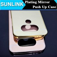 Espejo de lujo Bling Hard PC Case Metal Aluminum Bumper Push Up Funda trasera para LG G5 G4 G3 Sony Xperia Z5 Samsung S7 Edge S6 Edge Plus