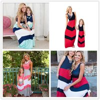 Wholesale Casual Maxi Dresses For Girls - 4colors Mother and Daughter wave striped sleeveless maxi dress fashion simple style beach dress for girls sisters mothers summer outfits