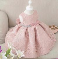 kindergeburtstag kleid designs großhandel-Neues Entwurfs-Prinzessin-Baby-Mädchen kleidet nettes Spitzekleid Mädchen Kleider Baby-Partei kleidet Kindergeburtstagskleid
