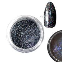 ingrosso glitter laser nero-All'ingrosso-Laser Black Nail Glitter paillettes olografiche Nail Paillettes Hologram UV Nail Tool scintilla scintillio 0,2 millimetri Laser Glitter Dust N49
