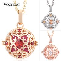 Wholesale Lockets Round White Gold - Angel Necklace Baby Chime Round Interchangeable Lockets 3 Colors Hollow out CZ Stone Stainless Steel Chain VOCHENG VA-227