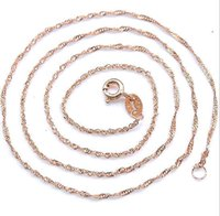 Wholesale Cheap Rose Gold Necklaces - wholesale 925 sterling silver plating rose gold chain of water waves sterling silver necklace fashion cheap necklace good jewelry gift