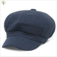 Wholesale Vintage Navy Hat - Wholesale-2016 navy blue wool news boy cap vintage casual octagonal cap for men and women adjustable free shipping