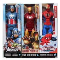 детские фигуры-пауки оптовых-Мстители ПВХ фигурки Marvel Heros 30 см Железный Человек-паук Капитан Америка Альтрон Росомаха рисунок игрушки OTH025