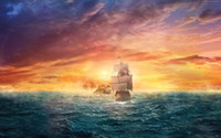 Wholesale Abstract Ocean Art Canvas - Framed Pirate Ship Ocean Sun HD Art Canvas Prints Oil Painting high quality home decor wall Art On Canvas, Multi sizes,Free Shipping
