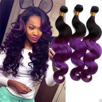 Wholesale Purple Indian Hair Extensions - Cheap 8A T1b Purple Color Peruvian Human Hair 2 Tone Ombre Weaves Human Hair Extension Body Wave Ombre Hair 3bundle deals free shipping