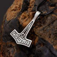 Wholesale pewter necklace pendants - New Punk Norse Vikings PENDANT Necklace THOR Elder Futhark Rune Runic Norse Viking THOR'S HAMMER Pewter Pendant Necklace
