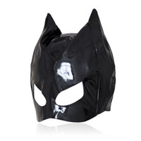 Wholesale Cat Adult - Patent Leather Cat Mask Sexy Latex Realistic Head Bondage Hood Adult Sexy Headgear Black PVC Fetish Erotic Toys Sex Toys for Couples
