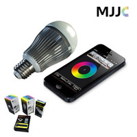 Hot selling 2.4G 9W RGBW RGB White LED Lighting Bulb Dimmable Lamps E27 AC85V-265V Mi Light Series + 4-zone remote control + Wifi controller Smartphone
