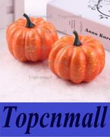 Wholesale Artificial Pumpkins - Free Shipping Lifelike Artificial Foam Orange Mini Halloween Pumpkin Wedding Party Festival Home Decoration Supplies