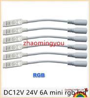 conector hembra rgb led al por mayor-YON 100 unids DC12V 24V 6A mini rgb led controlador 3 llaves con conector hembra DC para rgb led tiras smd 5050 envío gratis