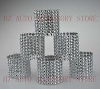 düğün için gümüş sandalye şapkalar toptan satış-Ücretsiz kargo 100 Taklidi Yay Yeni 8 Satır Kapakları-gümüş ve diğer 8 renkler düğün sandalye kanat peçete halkaları düğün tedarikçileri