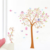 Wholesale Large Owl Wall Sticker - 100pcs 50AB 180*170cm fantastic owls flowers tree wall decal hot sell ZY7250 home decorations diy cartoon stickers for kids bedroom
