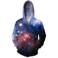 Wholesale Women Galaxy Space - Wholesale-Women Men Fashion Space Galaxy Hooded Sweatshirt Zip-Up Hoodie Autumn Casual 3D Zipper Hoodie Hip hop Sport Hoodie Tracksuits