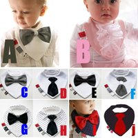 Wholesale Gentleman Baby Bib - PrettyBaby Baby Bibs unisex Infant cotton bibs baby with bowknot bandana bavoir gentleman bibs with bow tie baby slobber towel
