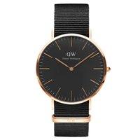 Wholesale Ladies Strapping Men - 2016 New Fashion Black Face Quartz Watches Men Top Luxury Brand Watch Women Dress Watches Men Nylon Strap Casual Watch Ladies Wristwatches