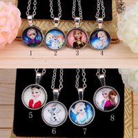 Wholesale Cabochons Kids - New Frozen Necklace Princess Pendants Cartoon Flatback Cameo Cabochons Baby Kids Jewelry Accessories Elsa Anna mixed styles