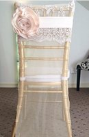 Wholesale Cheap Purple Blue Decorations - 2016 Chiffon Floral 3D Flower Wedding Chair Sashes Cheap Beautiful Stunning Chair Covers Fashion Wedding Chair Decorations 03
