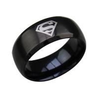 siyah yüzük süpermen toptan satış-Moda Yüzük 316L Paslanmaz Çelik Gümüş Altın Siyah Superman Logo Yüzükler Özel Fabrika Satış Mağazaları Ücretsiz Kargo