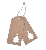 Wholesale Christmas Tree Wholesale Prices - Hot 10.5*4.5cm Hollow Tree Scalloped Kraft Paper Card   Blank Tag   Christmas Gift Tag Price Label