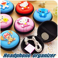 Wholesale Mini Headphone Usb Cable - Cartoon Mini Earphone Storage Bag Zipper Protective Headphone Case Pouch Soft Headset Earbuds Box USB Cable Organizer Coin Purse