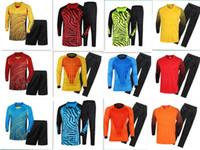 Wholesale free soccer uniforms resale online - Adult Soccer Goalkeeper Jersey Kids Goal Keeper Uniforms Long Sleeve Suits Sponge Protector Suit Camisetas De Futbol Jer