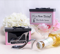 Wholesale Gift Boxes For Shoes - Creative Bride High Heel Shoe Design Wine Bottle Opener For Birthday Bridal Shower Wedding baptism Party Favor Gift Boxed