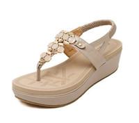 Wholesale Stylish Women Sandals - Plus Size 40 Rome Stylish T Strap High Platform Gladiator Sandals Shoes Women Summer Fashion Beach Shoes