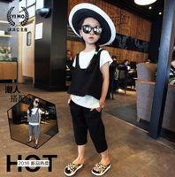 Wholesale Korean Wearing Harem Pants - 2016 girl suit new summer suit Korean Petty vest+T-shirt +harem pants three-piece girl colothes suit Children wear