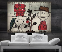 Wholesale Kids Room Wallpaper Free Shipping - Charlie Brown Snoopy christmas tree Jingle Bells Star huge giant poster print wall art 8 parts free shipping NO276