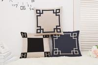 Wholesale blue pattern cushion - 45cm Chinese Style Black Pattern Cotton Linen Fabric Waist Pillow 18inch Fashion New Home Gift Coffeehouse Decoration Sofa Car Cushion