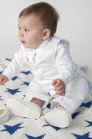 Wholesale Custom Baby Boy Outfits - Baby Boys 3 Piece Christening Outfit   Christening Suit White Paisley