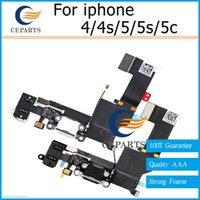 Wholesale 4g 4s Wholesale - For apple AAA Quality Dock Connector USB Charging Port and Headphone Audio Jack Flex Cable Ribbon for iPhone 5 5s 5c 4g 4s
