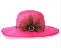 Wholesale Top Hat Head Wear - Hot selling Women's Summer Wide Brim Straw Hats Floral Design Weave Floppy Caps Seaside Beach Head Wear Ornaments