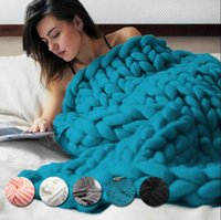 Wholesale thick warm blankets - 60*60cm 100*80cm Warm Chunky Knit Blanket Thick Woven Yarn Wool Bulky Knitted Throw Kinitted Throw Photograph Blanket 15 color KKA2499