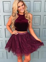 Wholesale sequined cocktail homecoming special occasion dresses for sale - Two Pieces New Burgundy Homecoming Dresses Sexy Sequined Lace Short Party Prom Cocktail Dresses Elegant Special Occasions Gowns
