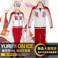 Wholesale Yuri Costume - Yuri!!! on Ice Costumes Victor Nikiforov Anime Costume Cosplay Clothes Adult Sportsuit Sport Jacket+Pants Clothing Set