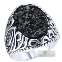Wholesale Gem Ore - Retro Silver Plated Resin oval black Gem Carving carbon Coal Black crystal ring mineral mine ore ring big Surface Wide rings Women j259