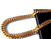 Vente en gros - Heavy MENS 24K SOLIDE OR FINI ÉPAIS MIAMI CUBAN LINK NECKLACE CHAÎNE