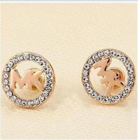 Wholesale Wholesale Round Crystal Stud Earrings - Classic Vogue Letter Rhinestone Earring Gold, Silver, Rose Gold Color Round Ear Stud for Women Lady Girl ady Girl Luxury Jewelry